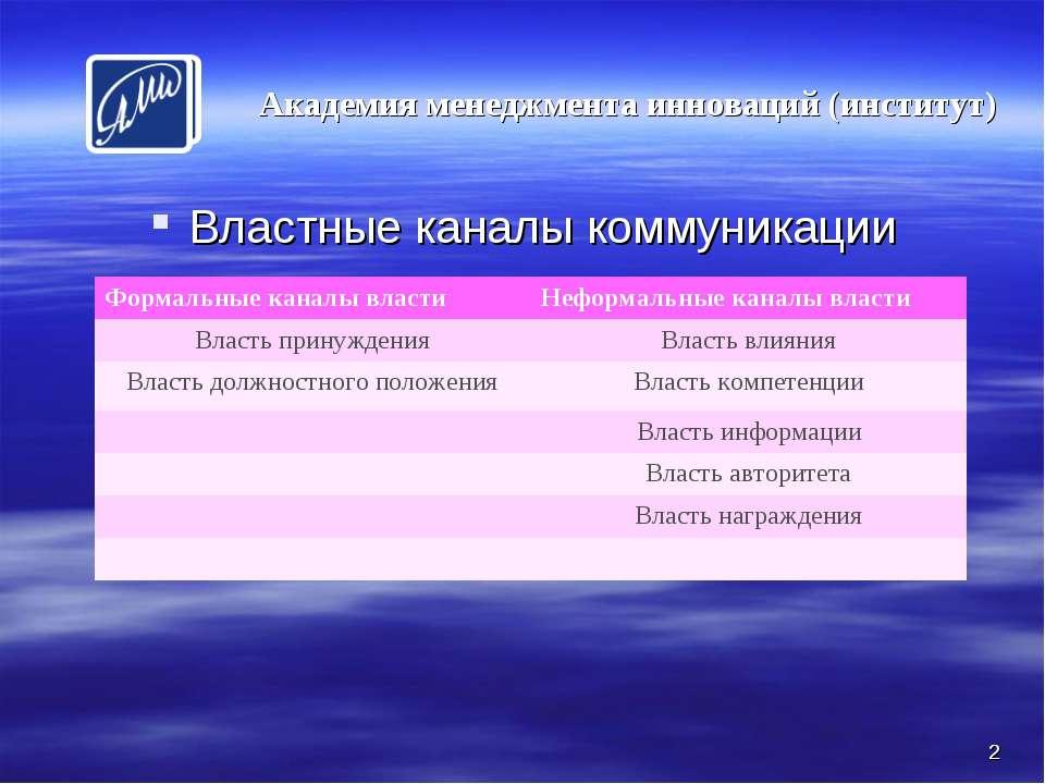 * Властные каналы коммуникации Академия менеджмента инноваций (институт) * Фо...