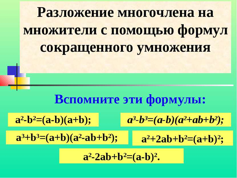 Разложение многочлена на множители с помощью формул сокращенного умножения Вс...