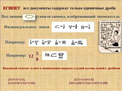 ЕГИПЕТ все документы содержат только единичные дроби 2/5=1/5+1/15, 2/21=1/14+...