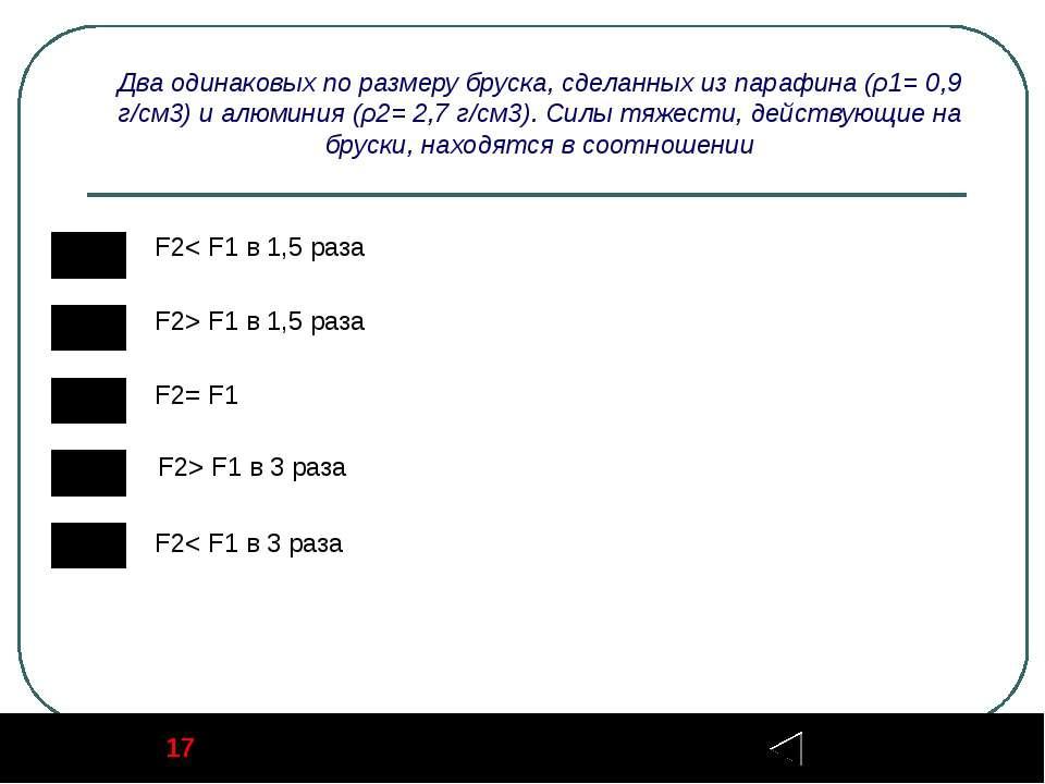 17 Задание Два одинаковых по размеру бруска, сделанных из парафина (ρ1= 0,9 г...