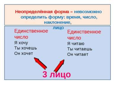Неопределённая форма – невозможно определить форму: время, число, наклонение,...