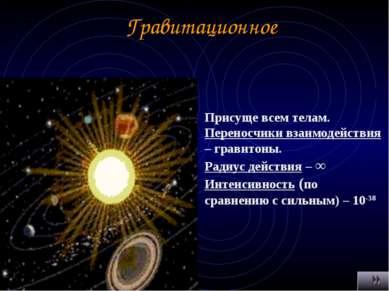 Гравитационное Присуще всем телам. Переносчики взаимодействия – гравитоны. Ра...