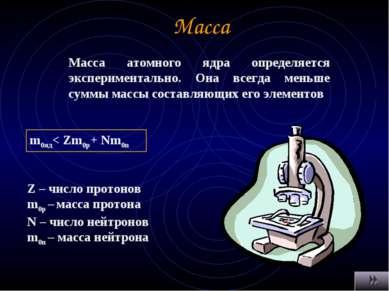 Масса Масса атомного ядра определяется экспериментально. Она всегда меньше су...