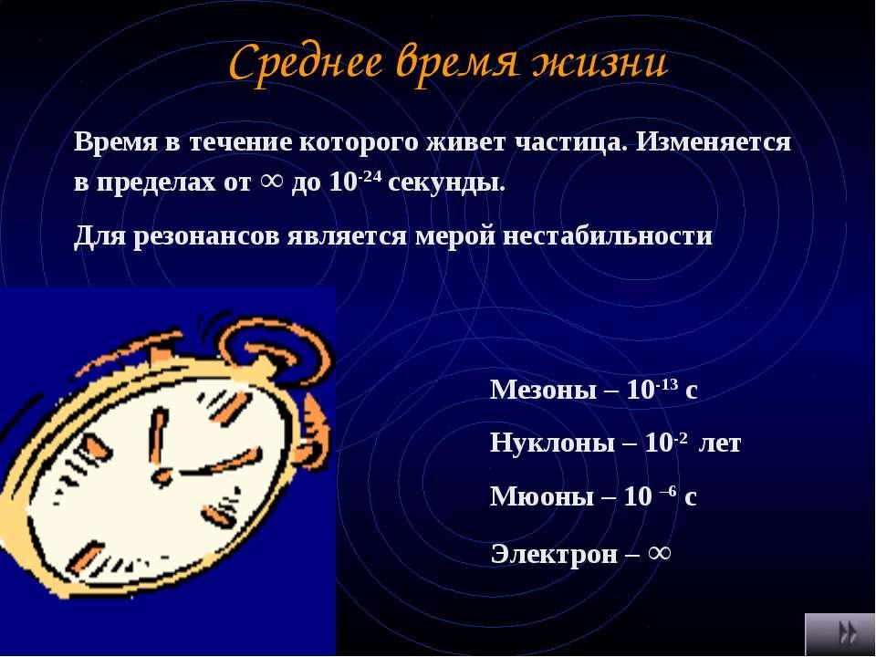 Среднее время жизни Время в течение которого живет частица. Изменяется в пред...