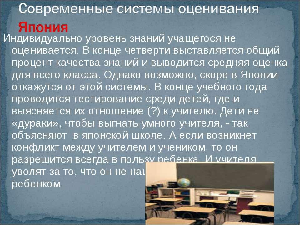 Индивидуально уровень знаний учащегося не оценивается. В конце четверти выста...