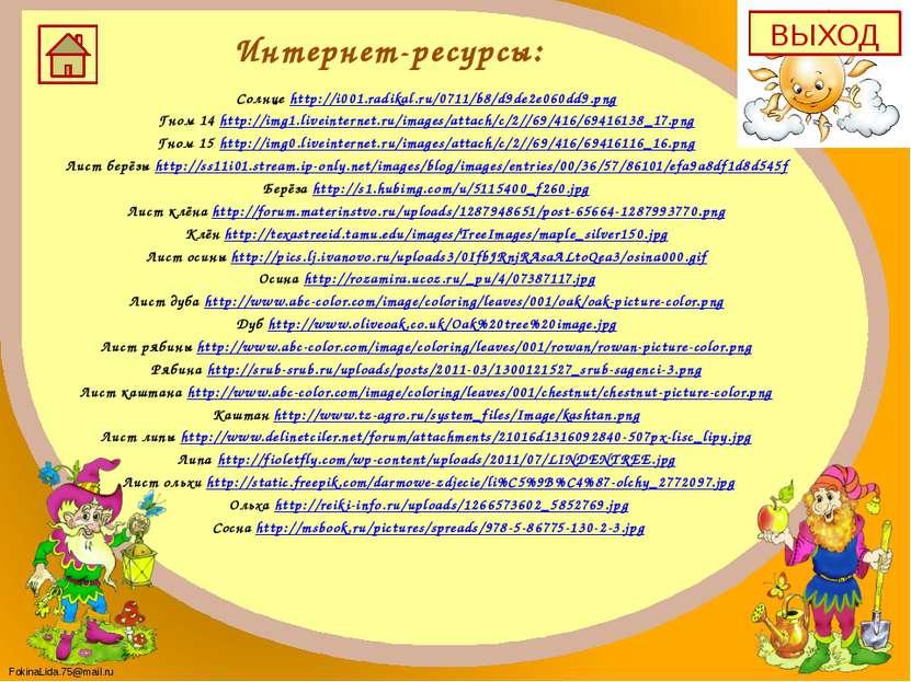 Интернет-ресурсы: Солнце http://i001.radikal.ru/0711/b8/d9de2e060dd9.png Гном...