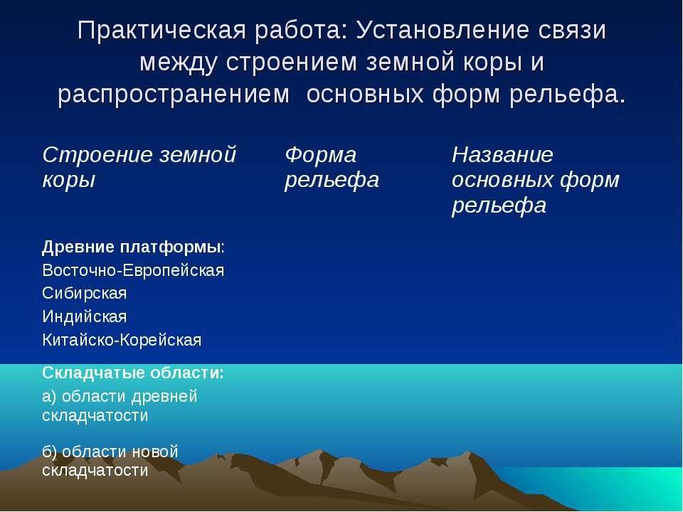 Практическая работа: Установление связи между строением земной коры и распрос...