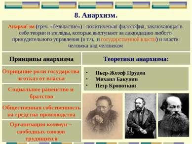 8.Анархизм. Анархи зм (греч. «безвластие»)- политическая философия, заключа...