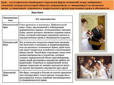 Брак - это исторически меняющаяся социальная форма отношений между женщиной и...