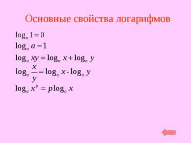 Основные свойства логарифмов