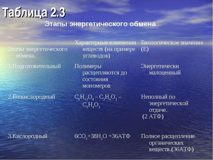 Таблица 2.3 Этапы энергетического обмена. Этапы энергетического обмена. Харак...