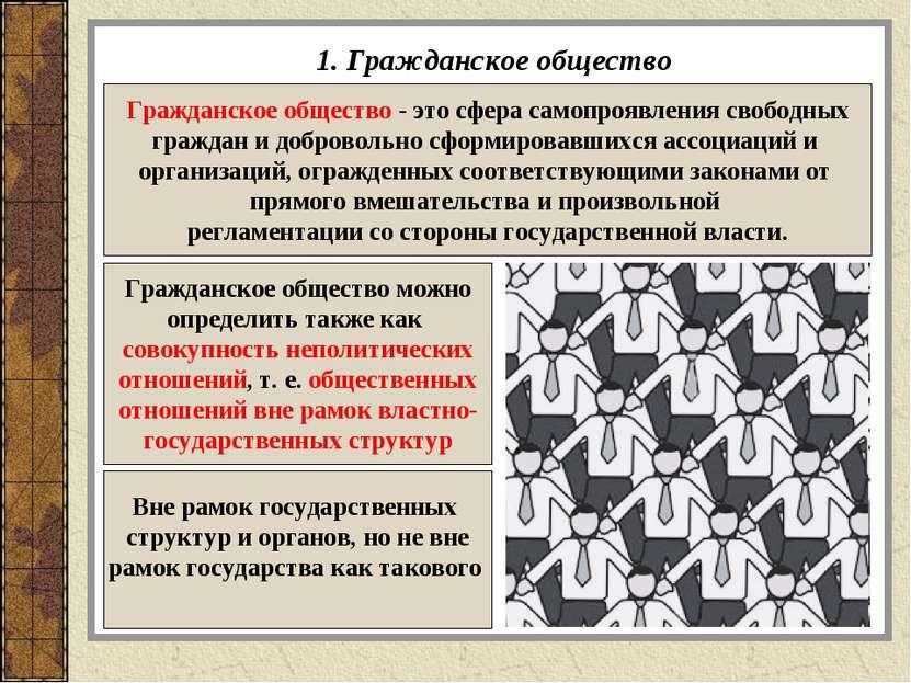 1. Гражданское общество Гражданское общество - это сфера самопроявления свобо...