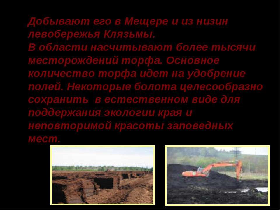 Добывают его в Мещере и из низин левобережья Клязьмы. В области насчитывают б...