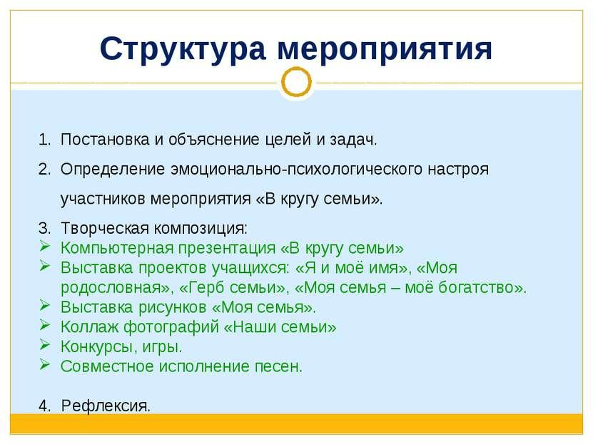 Структура мероприятия Постановка и объяснение целей и задач. Определение эмоц...