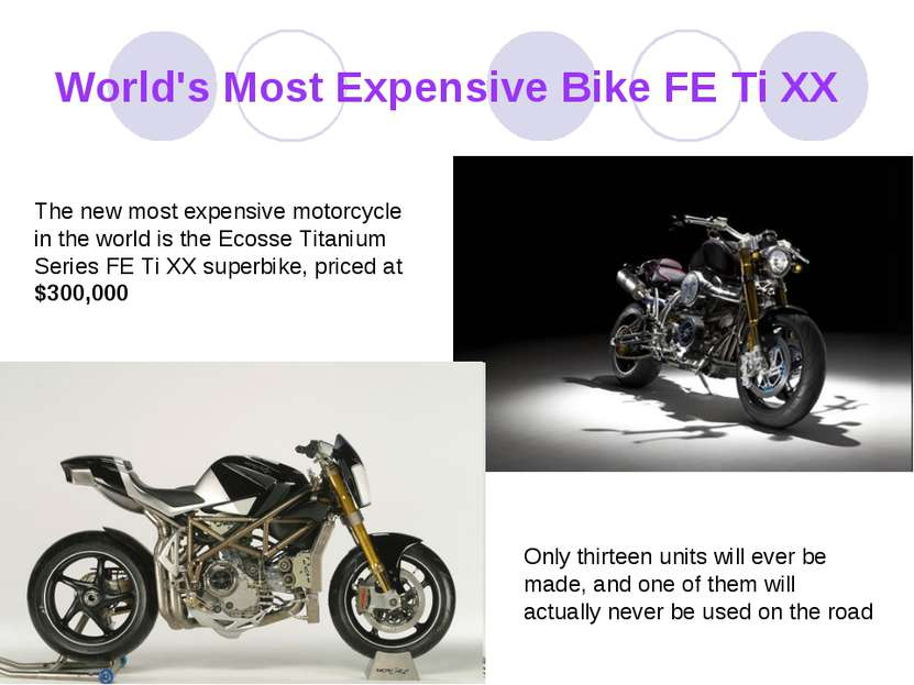 World's Most Expensive Bike FE Ti XX The new most expensive motorcycle in the...