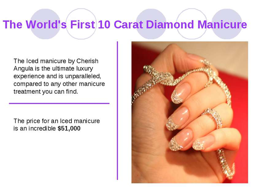 The World's First 10 Carat Diamond Manicure The Iced manicure by Cherish Angu...