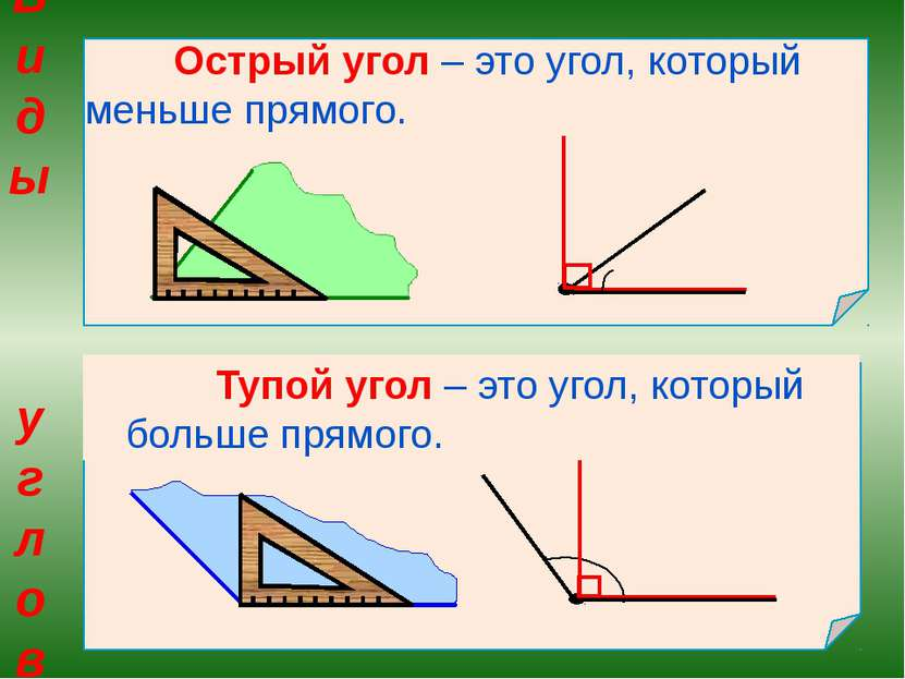 Острый угол – это угол, который меньше прямого. Тупой угол – это угол, которы...