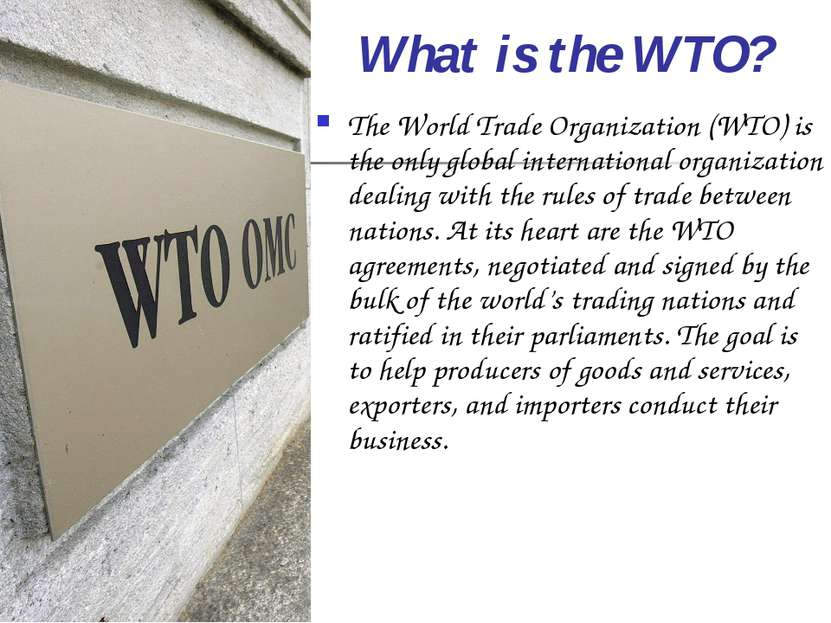 What is the WTO? The World Trade Organization (WTO) is the only global intern...