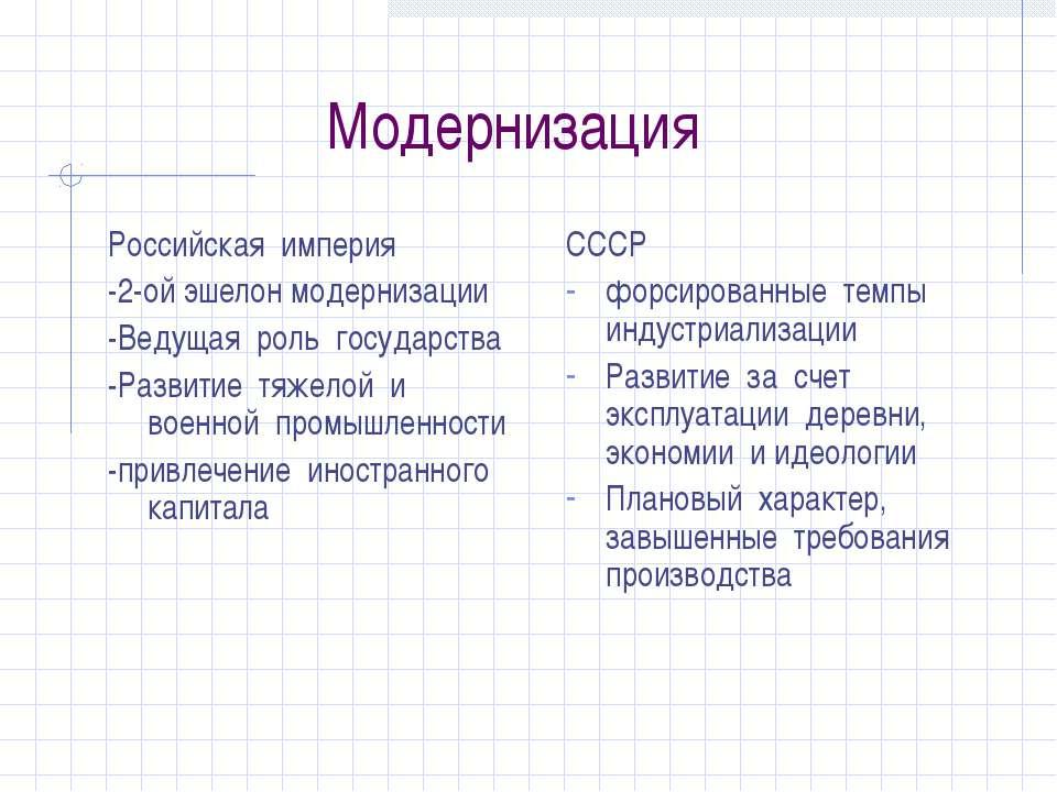 Модернизация Российская империя -2-ой эшелон модернизации -Ведущая роль госуд...