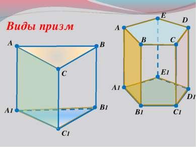 A B C1 D A1 B1 D1 C Виды призм E A1 B B1 C C1 A E1