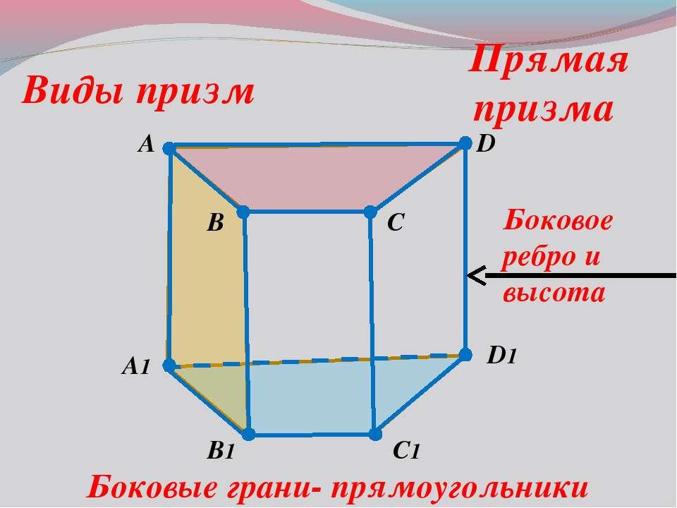 A B C1 D A1 B1 D1 C Виды призм Прямая призма Боковые грани- прямоугольники Бо...