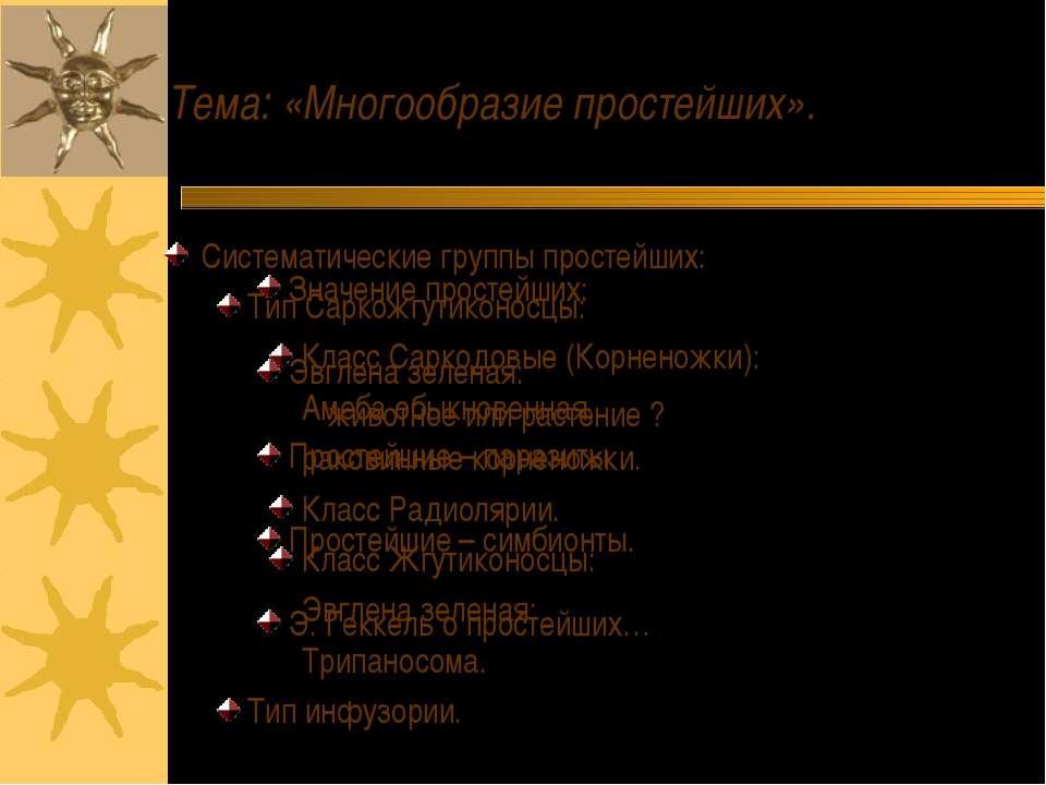 Тема: «Многообразие простейших». Систематические группы простейших: Тип Сарко...
