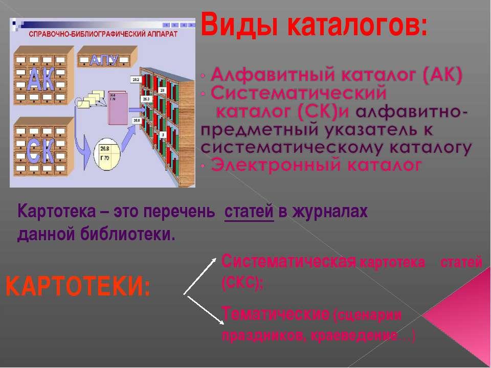 КАРТОТЕКИ: Систематическая картотека статей (СКС); Тематические (сценарии пра...
