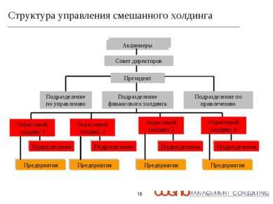 * Структура управления смешанного холдинга Акционеры Совет директоров Президе...