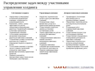 * Распределение задач между участниками управления холдинга Собственники холд...