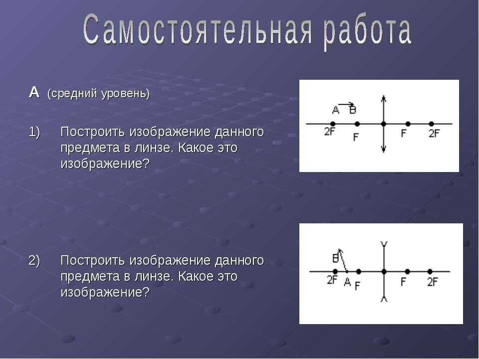 А (средний уровень) Построить изображение данного предмета в линзе. Какое это...