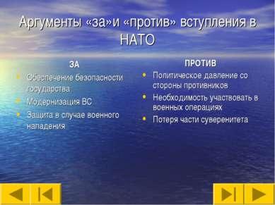 Аргументы «за»и «против» вступления в НАТО ЗА Обеспечение безопасности госуда...
