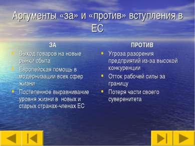 Аргументы «за» и «против» вступления в ЕС ЗА Выход товаров на новые рынки сбы...