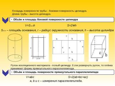 a, b и c – измерения параллелепипеда. V=abc S=2(ab+bc+ac) Площадь поверхности...