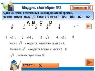 Модуль «Алгебра» №3 * Одна из точек, отмеченных на координатной прямой, соотв...