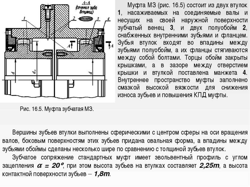 Рис. 16.5. Муфта зубчатая МЗ. Муфта МЗ (рис. 16.5) состоит из двух втулок 1, ...