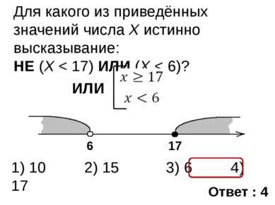 Для какого из приведённых значений числа X истинно высказывание: НЕ (X < 17) ...