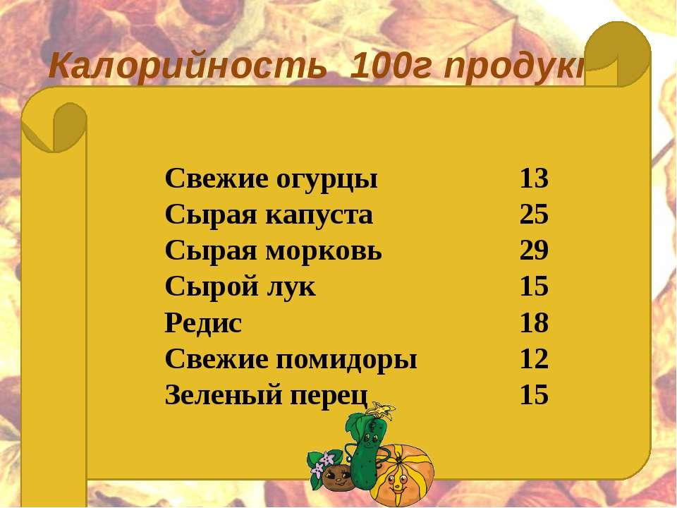 Калорийность 100г продукта   Свежие огурцы 13 Сырая капуста 25 Сырая морков...