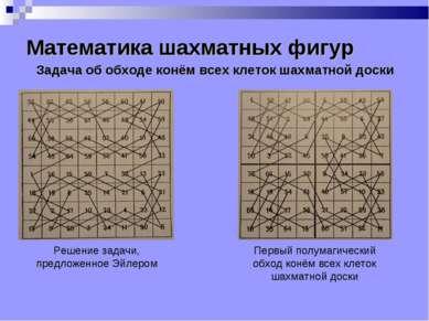 Математика шахматных фигур Задача об обходе конём всех клеток шахматной доски...