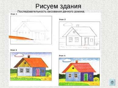 Рисуем здания Последовательность рисования дачного домика.