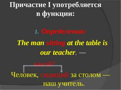 Причастие I употребляется в функции: Определения: The man sitting at the tabl...