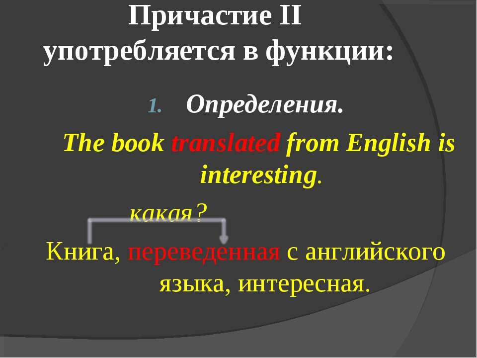 Причастие II употребляется в функции: Определения. The book translated from E...