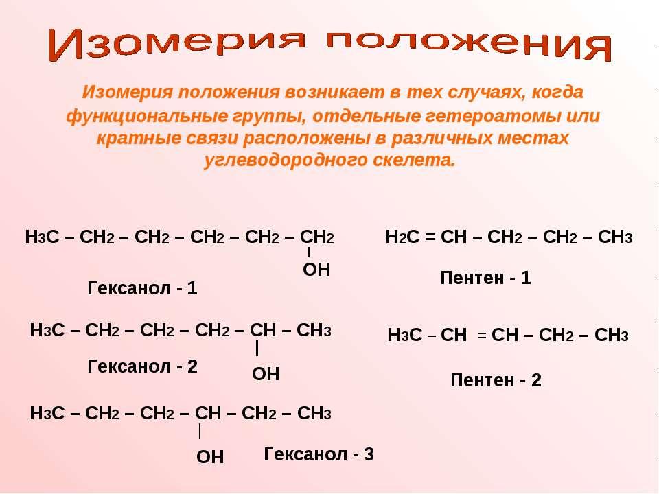 Изомерия положения возникает в тех случаях, когда функциональные группы, отде...