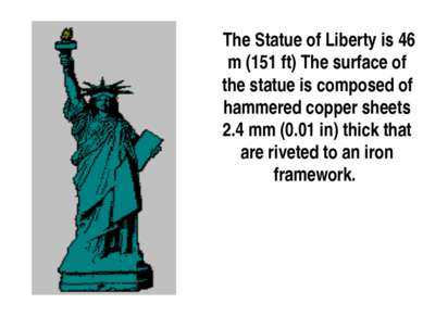 The Statue of Liberty is 46 m (151 ft) The surface of the statue is composed ...