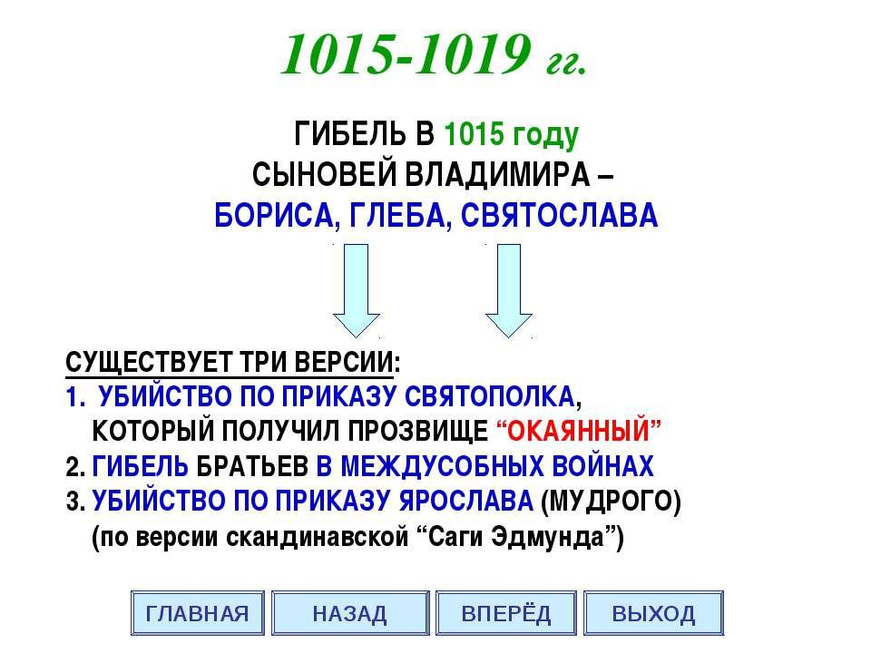 ГИБЕЛЬ В 1015 году СЫНОВЕЙ ВЛАДИМИРА – БОРИСА, ГЛЕБА, СВЯТОСЛАВА СУЩЕСТВУЕТ Т...