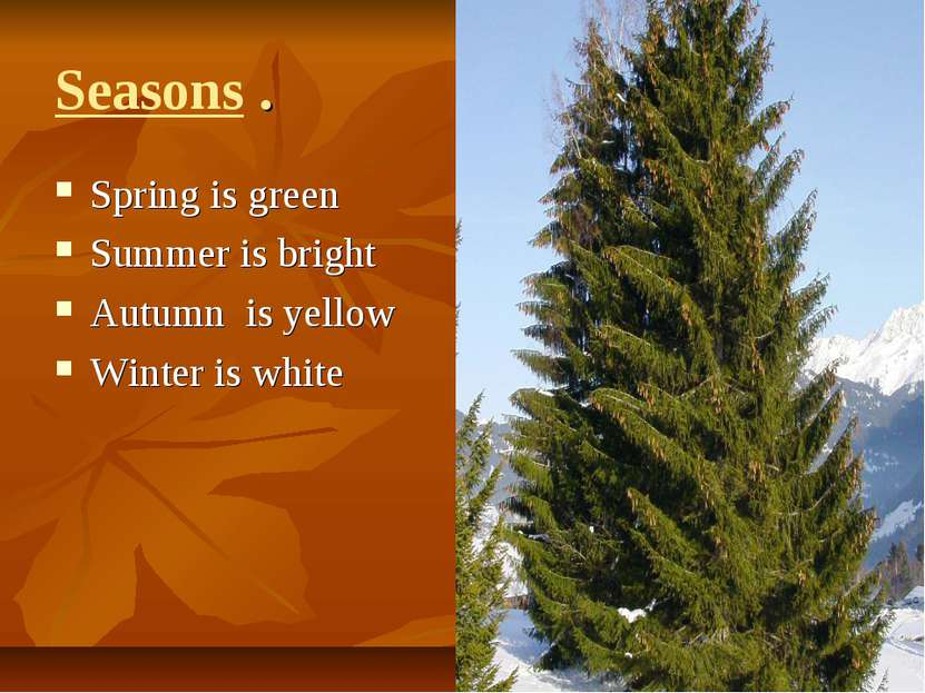 Seasons . Spring is green Summer is bright Autumn is yellow Winter is white