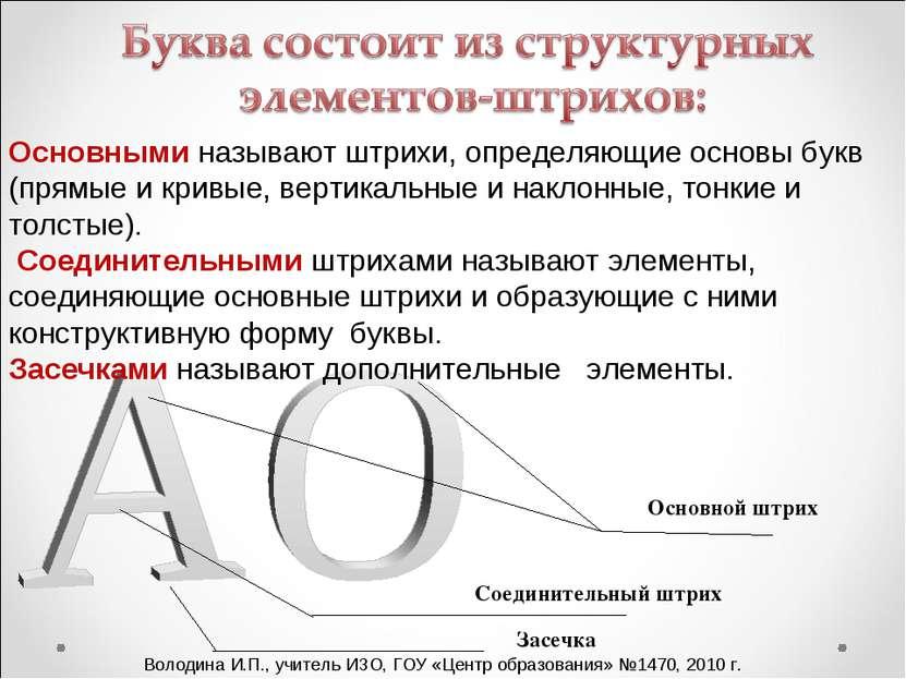 Основными называют штрихи, определяющие основы букв (прямые и кривые, вертика...