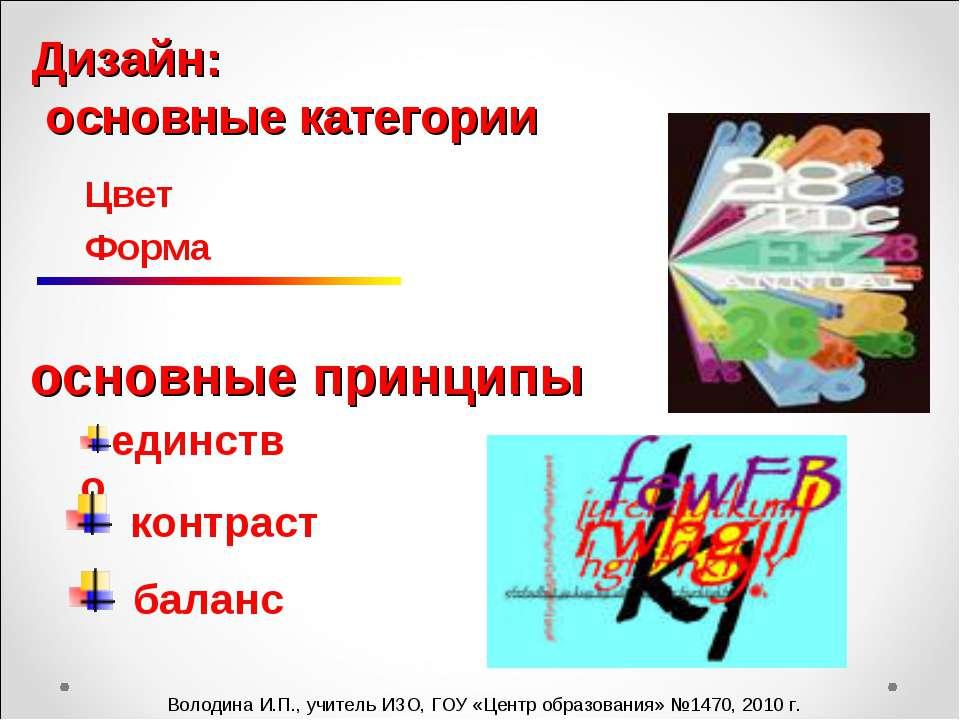 единство баланс контраст Володина И.П., учитель ИЗО, ГОУ «Центр образования» ...