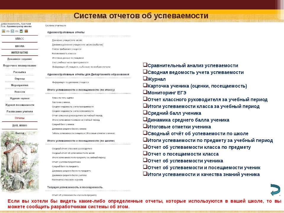Система отчетов об успеваемости Сравнительный анализ успеваемости Сводная вед...