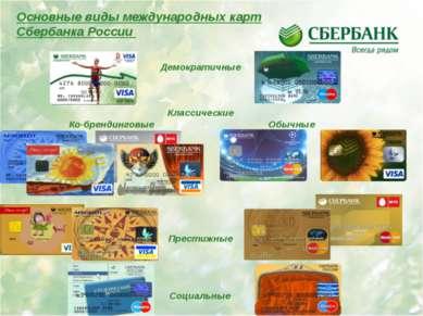 Основные виды международных карт Сбербанка России Демократичные Классические ...