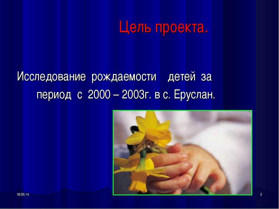 * * Цель проекта. Исследование рождаемости детей за период с 2000 – 2003г. в ...